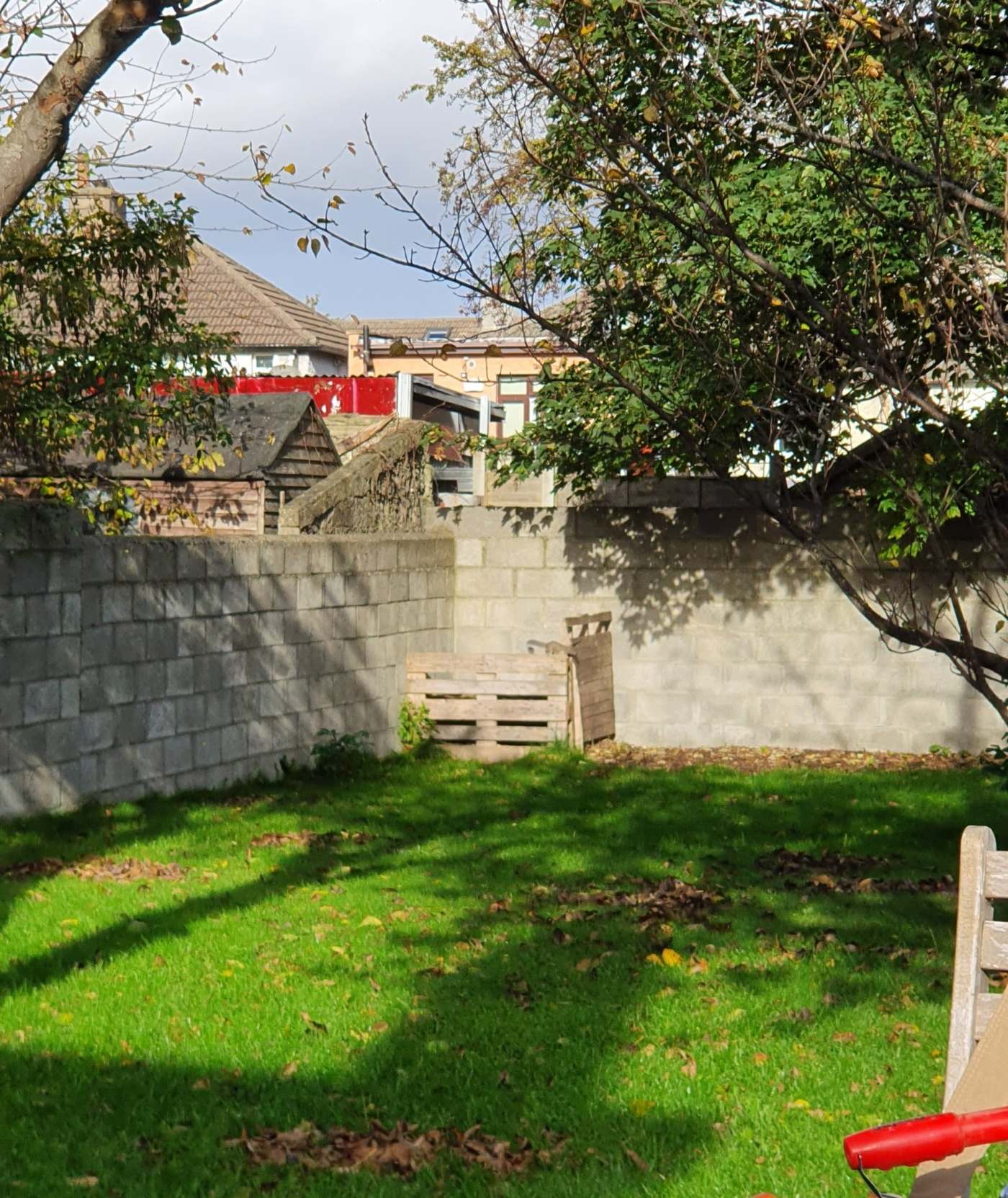 A backgarden lawn, with piles of leaves and shade from trees